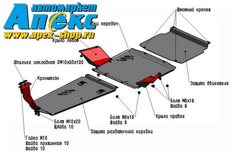 Mitsubishi Pajero IV, V - 3.0; 3.2d(188л.с., 200л.с.); 3.8 2006-2011 Защита РК